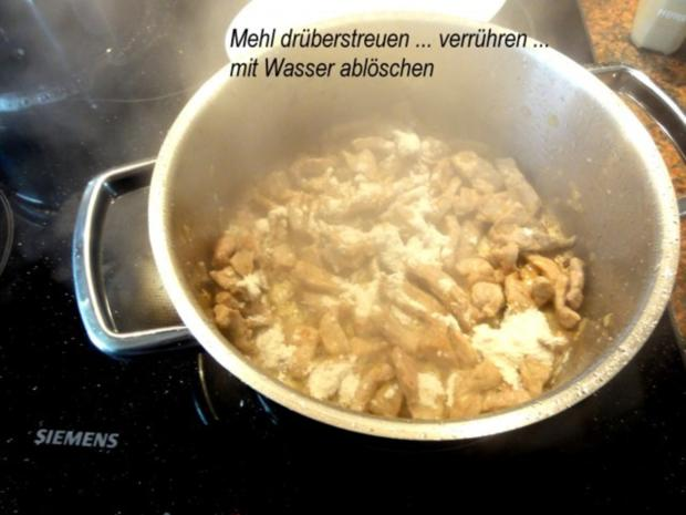 Fleisch:   SAHNEGESCHNETZELTES (vom Schwein) - Rezept - Bild Nr. 4