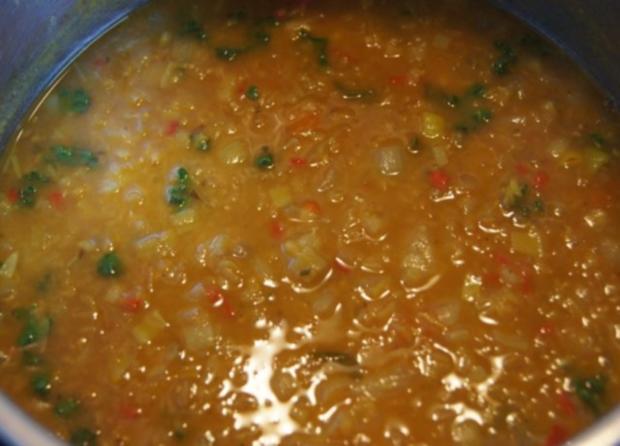 Rote Linsen-Gemüse-Suppe mit Riesengarnelenschwänzen - Rezept - Bild Nr. 11
