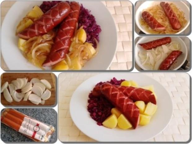 Curry Fleischwurst mit Salzkartoffeln und  Rotkohl - Rezept - Bild Nr. 5