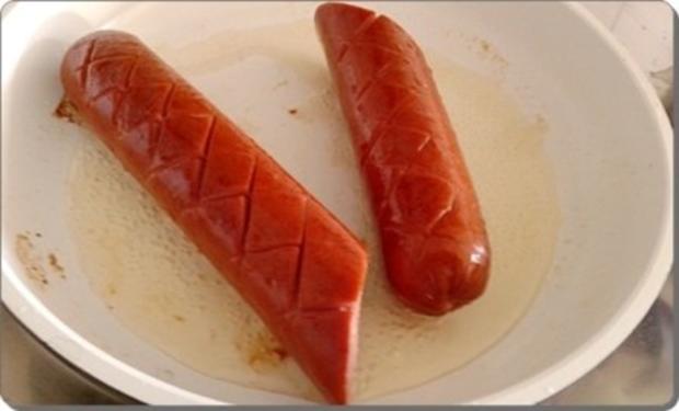 Curry Fleischwurst mit Salzkartoffeln und  Rotkohl - Rezept - Bild Nr. 7