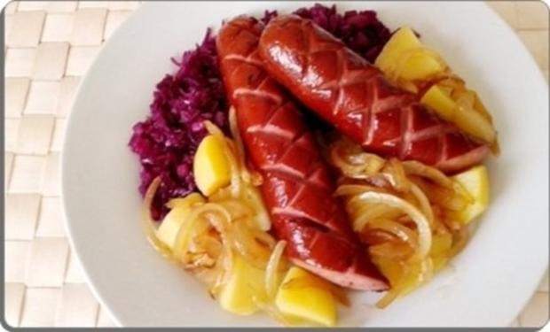 Curry Fleischwurst mit Salzkartoffeln und  Rotkohl - Rezept - Bild Nr. 19