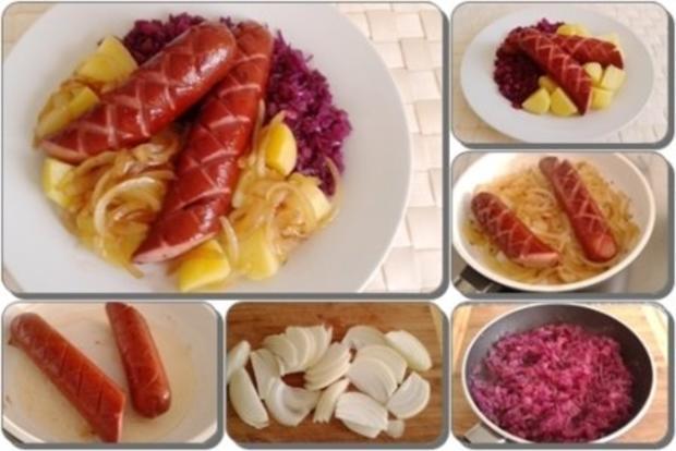 Curry Fleischwurst mit Salzkartoffeln und  Rotkohl - Rezept - Bild Nr. 20
