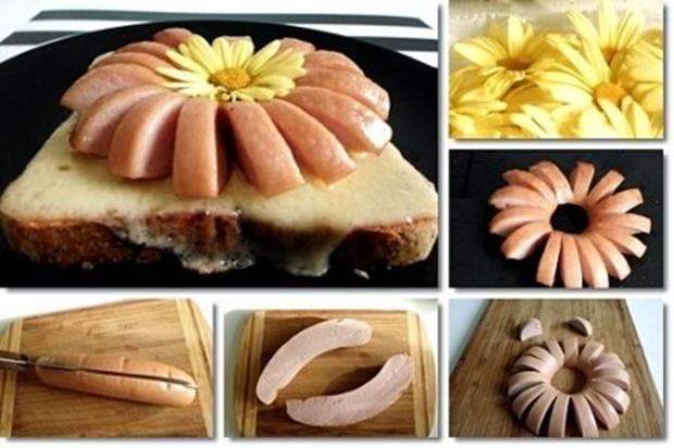 """""""Wurst-Blume""""  auf  Cheddar-Käse-Sandwich - Rezept - Bild Nr. 3"""
