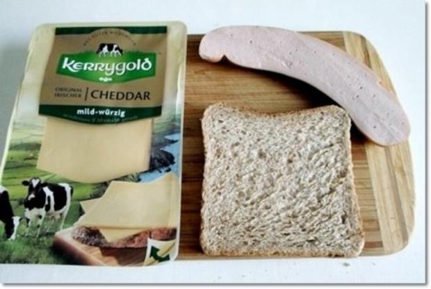 """""""Wurst-Blume""""  auf  Cheddar-Käse-Sandwich - Rezept - Bild Nr. 4"""