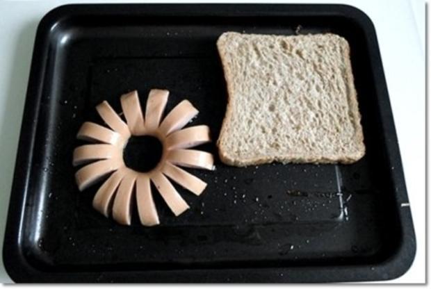 """""""Wurst-Blume""""  auf  Cheddar-Käse-Sandwich - Rezept - Bild Nr. 10"""