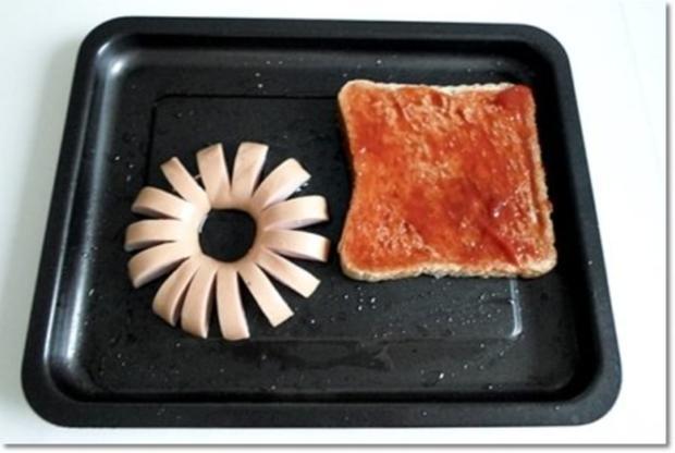 """""""Wurst-Blume""""  auf  Cheddar-Käse-Sandwich - Rezept - Bild Nr. 12"""