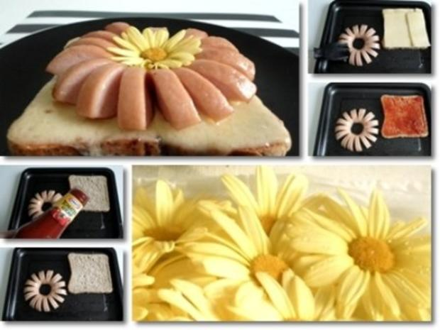 """""""Wurst-Blume""""  auf  Cheddar-Käse-Sandwich - Rezept - Bild Nr. 15"""