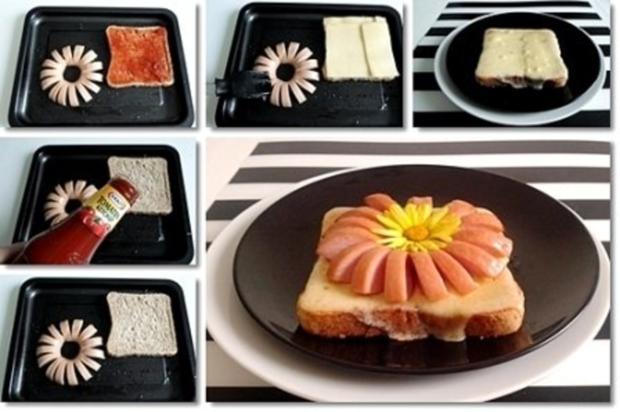"""""""Wurst-Blume""""  auf  Cheddar-Käse-Sandwich - Rezept - Bild Nr. 21"""