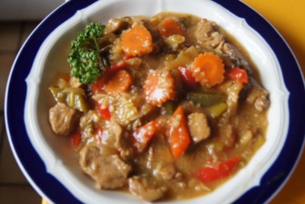 Schweinefilet mit Gemüse-Reis süß-sauer - Rezept
