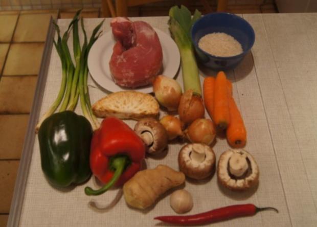 Schweinefilet mit Gemüse-Reis süß-sauer - Rezept - Bild Nr. 2