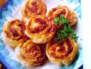 Käse- Salami - Schnecken - Rezept