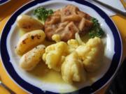 Wiener Schnitzel mit Curry-Blumenkohl und angebratenen Drillingen - Rezept