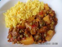 Hackfleisch-Curry mit Safranreis - Rezept