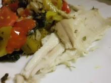 Fisch: Forelle auf Gemüse-Obst-Bett - Rezept