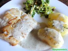 Fisch:   SKREI (Winterkabeljau) an Kräuter-Sahne-Sauce - Rezept