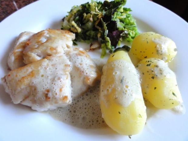 Fisch:   SKREI (Winterkabeljau) an Kräuter-Sahne-Sauce - Rezept - Bild Nr. 9