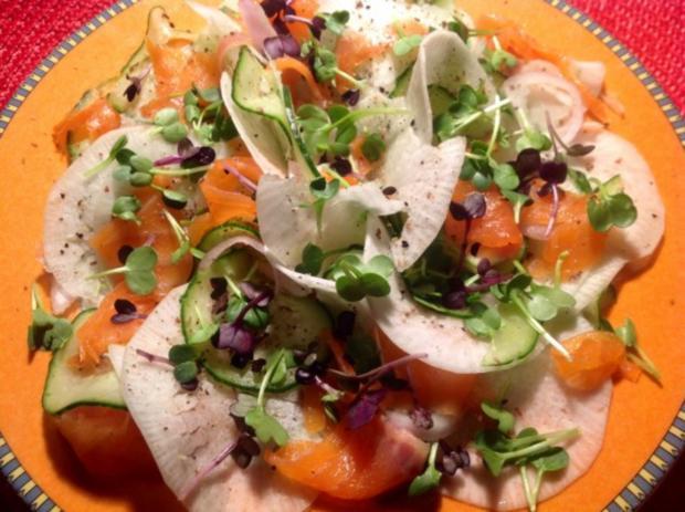 Rübchen-Gurkensalat mit Lachs - Rezept - Bild Nr. 3