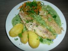 Kabeljau an Bärlauchsoße und Zucchini - Karotten - Lauch  Spaghetti  + Pellkartoffeln. - Rezept
