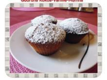 Muffins: Kokos-Vanille-Muffins gefüllt mit Sultaninen - Rezept