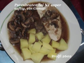 Pute : Putenbraten auf Kernthemperatur von 90 Grad im Backofen - Rezept