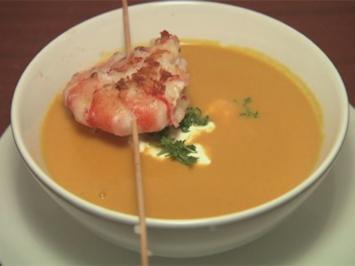Rezept: Gebratene Gambas Spieße auf Karotten-Ingwer-Suppe (Tanja Tischewitsch)