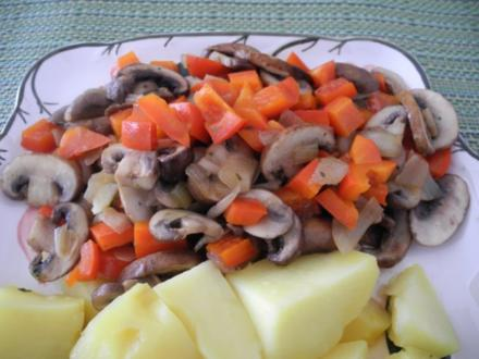 Champignons - Paprika - Apfel - Zwiebel - Pfanne - Rezept