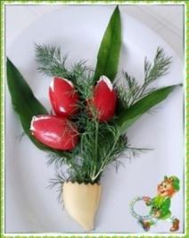 """""""Tulpen Strauß"""" mit Bärlauchsauce als Frühlingsanfangs-Begrüßung - Rezept"""