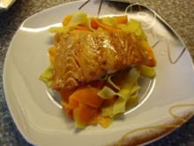 Karotten-Nudeln mit Lachs - Rezept