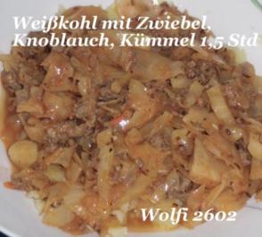 Gemüse : Schmor-Gemüse Weißkohl mit Thüringer und Türkischem Hackfleisch - Rezept