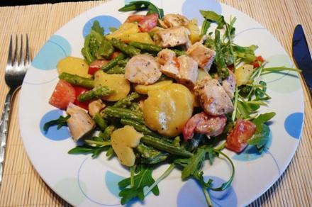 Hähnchenfilet mit Kartoffel- Bohnen- Salat - Rezept