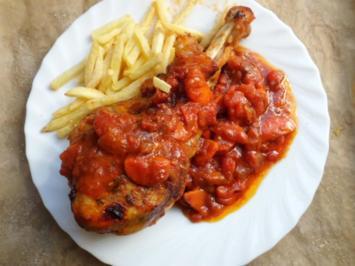 Geflügel, Pute: Unterkeule von der Pute mit pikanter Tomatensuga und Pommes fritis - Rezept