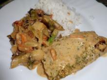 Fisch: Rotbarsch an Gemüseragout und Reis - Rezept