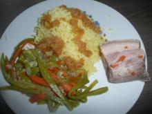 Schweinebauch, Bohnen + Karottengemüse + Kartoffelschnee ! - Rezept
