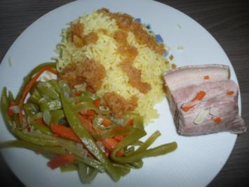 Rezept: Schweinebauch, Bohnen + Karottengemüse + Kartoffelschnee !