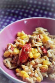Mediterraner Kritharaki-Hackfleisch-Salat - Rezept
