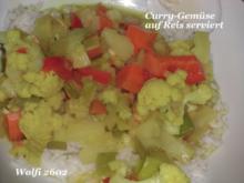 Gemüse : Curry-Gemüse-Pfanne, mit Ananas und Reis (Vegetarisch) - Rezept