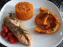 Ofenlachs mit Schmorkürbis und Süßkartoffelpüree - Rezept