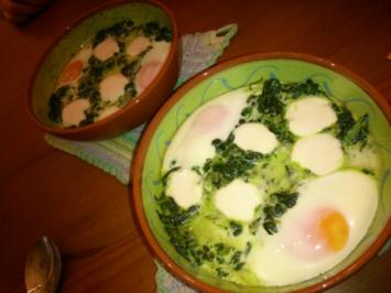 Gebackene Eier in Spinat - Rezept