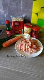 Gebratene Nudeln mit Hähnchenbruststreifen und Gemüse - Rezept