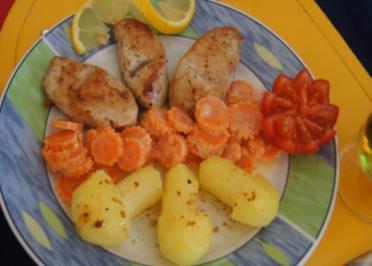 Puten-Ministeaks mit Rahm-Möhrenblüten und Kartoffelpilzen - Rezept