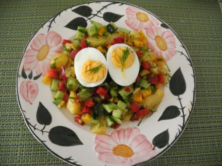Oster - Ei auf buntem Salat - Nest - Rezept