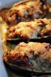 Auberginen mit orientalischer Hackfleisch-Füllung, im Ofen gebacken - Rezept