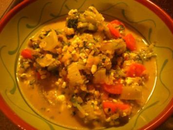 Gemüse-Linsen-Pfanne mit Hüttenkäse - Rezept