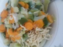 Mie-Nudeln Möhren Porree Pfanne - Rezept