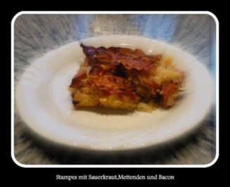 Stampes mit Sauerkraut,Mettendchen und Bacon - Rezept