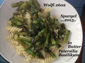 Vegetarisch : Grüner Spargel aus der Pfanne mit Butter - Rezept