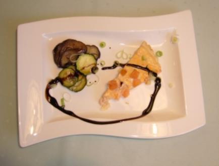 Lachsquiche an gebratenen Auberginen-Zucchini - Rezept