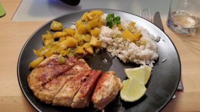 Rezept: Hähnchenbrust mit Mango-Paprika Gemüse