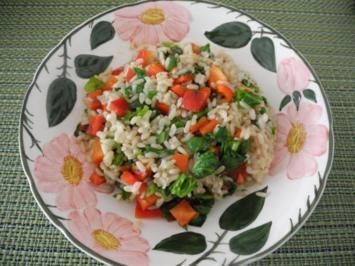 Reis - Salat mit frischem Spinat - Rezept