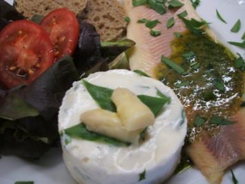 Fisch: Geräucherte Forelle mit Spargelmousse und Bärlauchsoße - Rezept